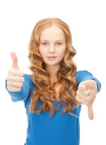 does your website increase church attendance - picture of girl with thumbs up/thumbs down