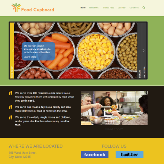 Non-profit website design - Food Cupboard Design