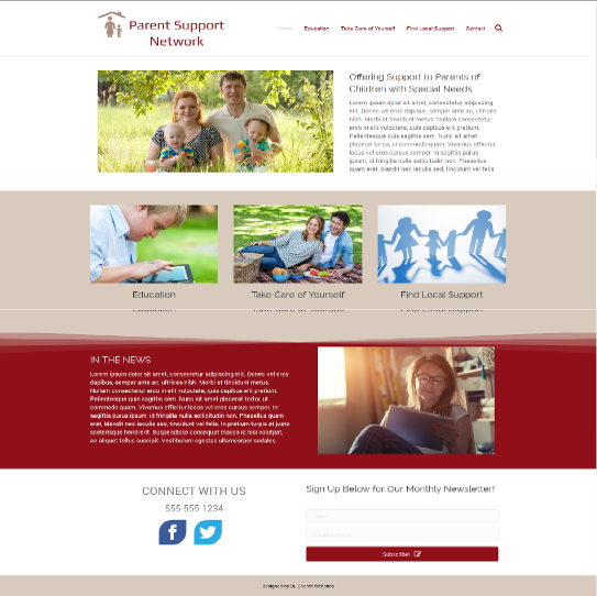 special needs organization website design