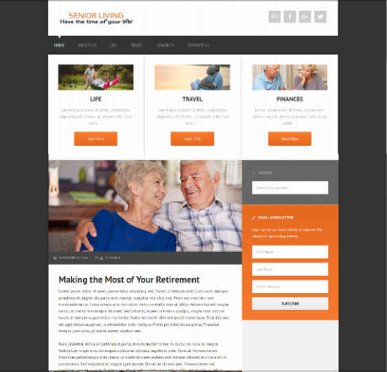 senior care website design