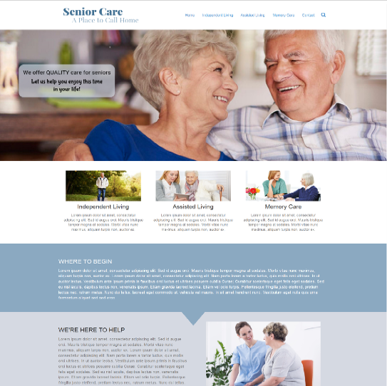Senior Care website example design