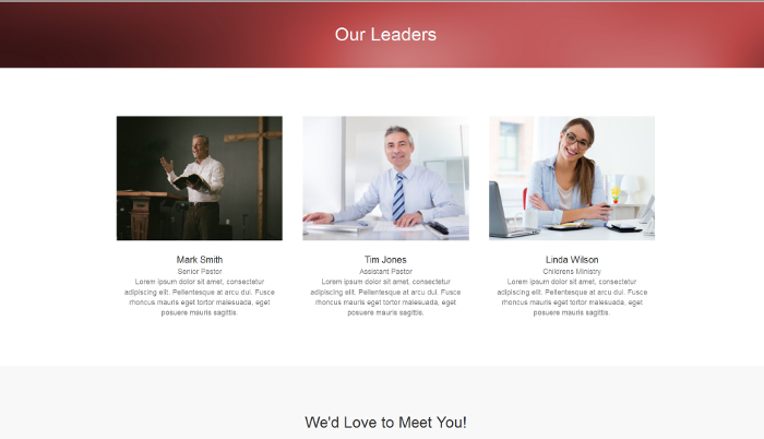 church website leadership page