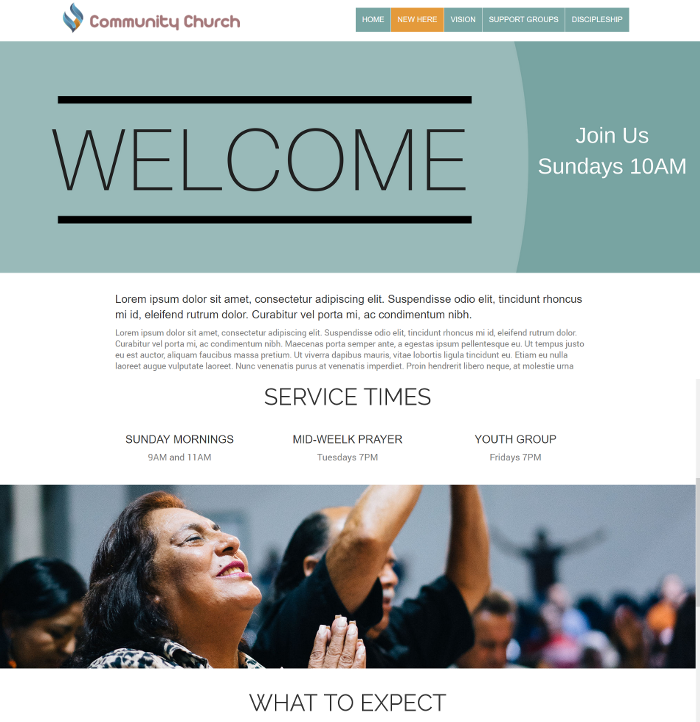 church website content - new here information